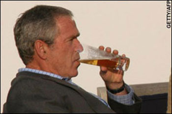 Bush sipping a cold beer at G8 summit