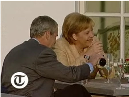President Bush drinking Beer with German Chancellor Andrea Merkel at G8 summit