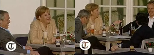 Bush having a brew with world leaders at G8 summit
