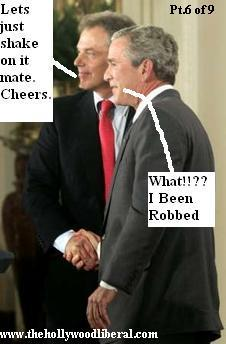 Bush and Blair shake hands to show the world how much they love each other 060905