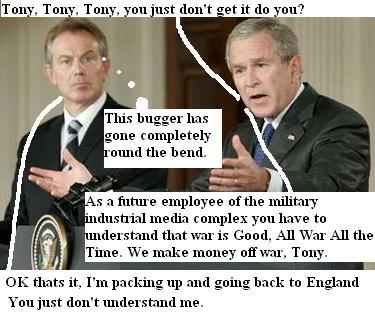 Bush & Blair argue over politics