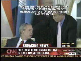 Bush got caught saying a curse talking to Blair abour Syria