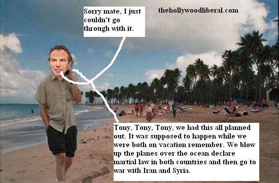 Tony Blair on the beach