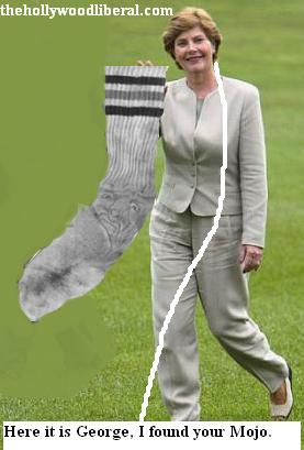 Laura Bush and a big old sweat sock