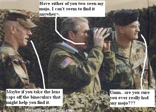 Bush looks through Binoculars with lens caps still on