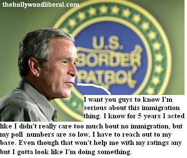 President Bush goes to the border and goes along with the border patrol