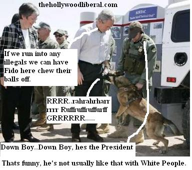 Bush pets an immigrant sniffing dog near the border