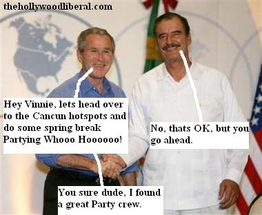 Bush and Vincente fox in Cancun Mexico for talks