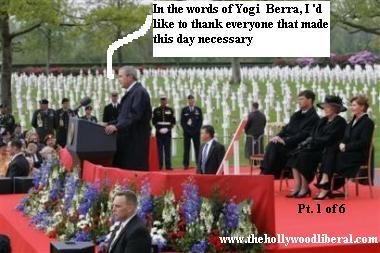U.S. President George W. Bush gives a speech at a War Cemetary in Europe 050905