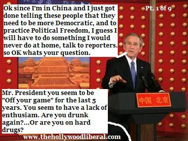 President Bush gets stuck at a locked door trying to leave a press conference in China112005