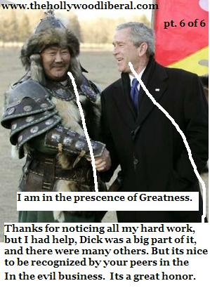 President Bush watches a show in China put on by people dressed up like Ghengis Khan