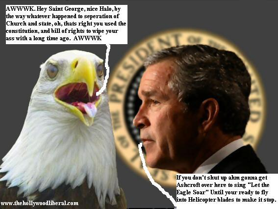 President Bush portrait with the American Bald Eagle 051605