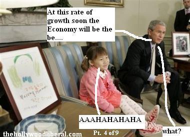 Little girl laughs at president bush