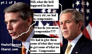 President Bush is not to happy with the filibuster compromise, Bill Frist explains it to him 052405
