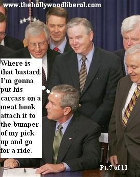 Bill Frist and a group of senators watch as President Bush gets ready to sign a bill