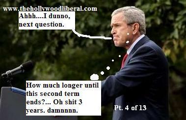 President Bush bites his lip