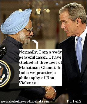 George W. Bush meets with the prime minister of India Dr. Manmohan Singh 071905