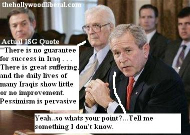 Bush holding the Iraq study gourp report
