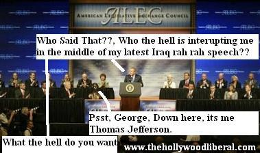 Thomas Jefferson talks politics with Presdient George Bush.