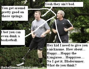 Christian Bagge and President Bush go jogging