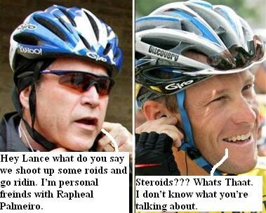 President Bush went bike riding with Lance Armstrong Crawford. They discussed Iraq, and Steroids 082705