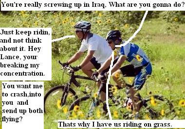 President Bush, explains his Iraq war policy to Lance Armstrong during a bike ride
