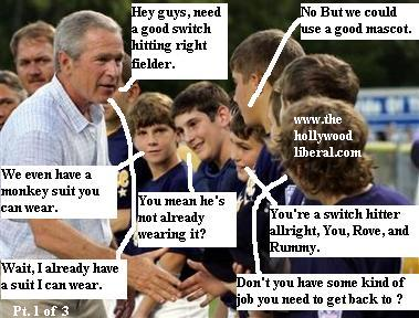 President Bush attends Little League Baseball Game Crawford Texas, meets players 081805