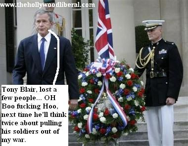President Bush lays a wreath at the scene of one of the London Bombings, 071105