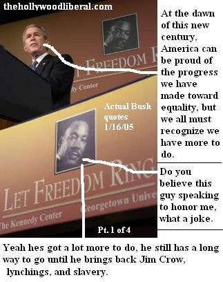 President Bush speaks on Martin Luther King Day 011605