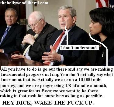 Dick Cheney dozes off while meeting with Rumsfeld, Rice, and Bush