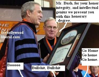 OSU president David Schmidly presents Bush with Hononary degree