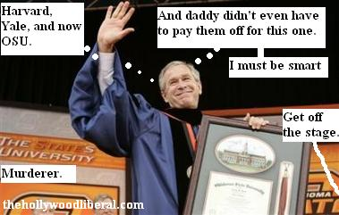 President Bush holds up his honorary degree at Ok. State U.