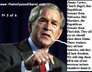 Pres. Bush is upset with Jimmy Carter and republicans for calling for shutting down guantanamo 061305