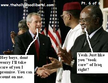 President Bush shakes hands with Presidents from Naimibia, Ghana, Botswana, and Niger 061305
