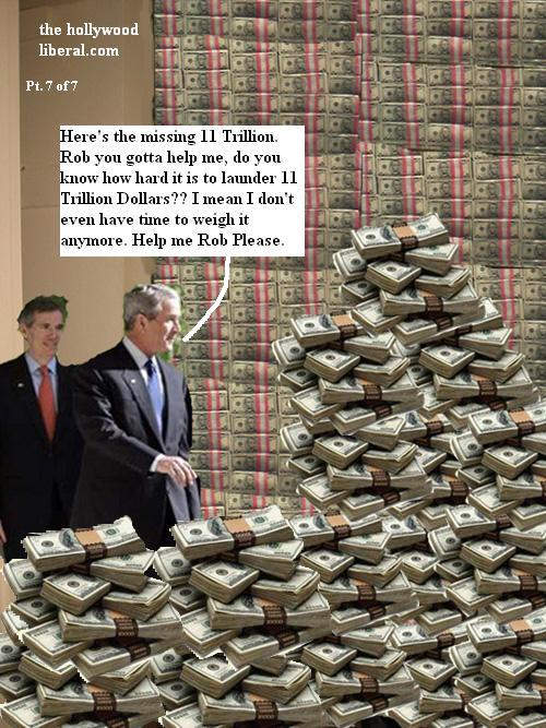 President Bush shows Budget director Portman a whole pile of money he stole