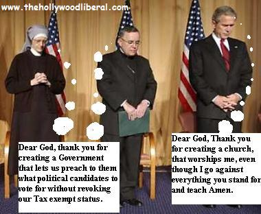 president bush prays with a priest and a nun 052305