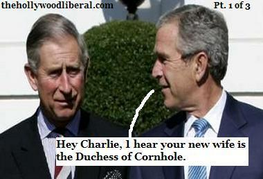 President Bush shares a moment with prince Charles to discuss the Windsor Family Tree 110805