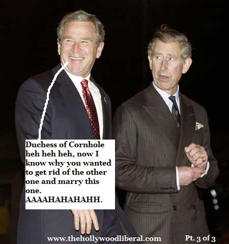 President Bush meets with Prince Charles who is now married to the duchess of cornwall