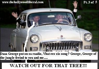 Vladimir Putin, and George W. Bush go for a ride in Putins 1956 Volga.
