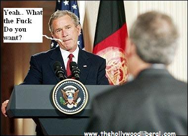 President Bush takes a reporters question