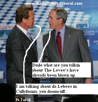 Bush and Schwarzneggar discuss the California levees