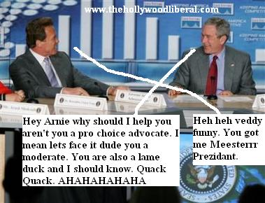 Bush and Arnold on TV talking about the levees