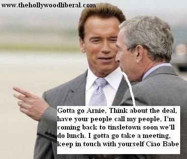 President Bush and Arnold talk show business