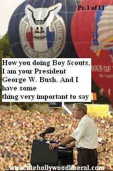 President Bush gives a speech to The Boy Scouts at their World Jamboree, at Fort AP Hill 080105
