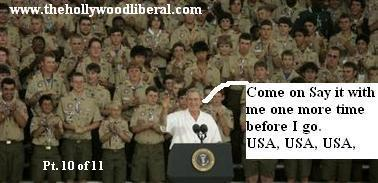 President Bush leads the Boy scouts in a round of USA USA USA, At the Jamboree where he spoke