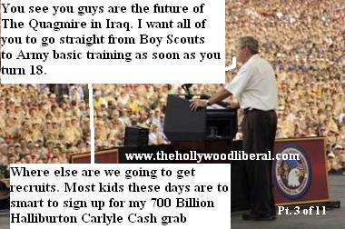 Bush tells the Boy Scouts that they are the future of the quagmire in Iraq in his speech at the jamboree