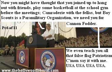 Boy Scouts have patrols, troops, and war games, just like the United States Army, Bush speaks to them at the jamboree