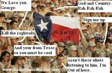 Boy Scouts love bush, they unfold a Texas flag, at his speech for the jamboree at Fort AP Hill