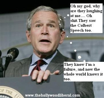 Bush reacts to colbert speech