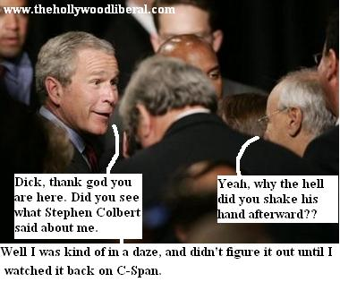 Bush & Cheney discuss comedy central's stephen colbert